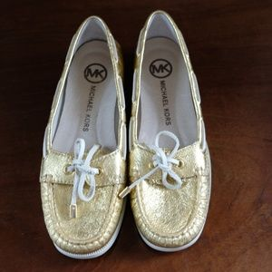 Michael Kors Gold Foil Boat Shoes Loafers (7M)